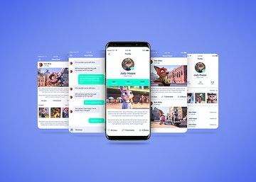Smartphone Multi Screen App Mockup