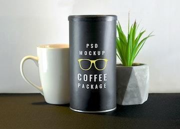 Coffee Tube Package Mockup
