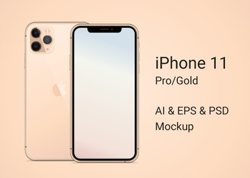 iPhone 11 Pro Gold Mockup