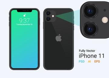 iPhone 11 Vector Mockup