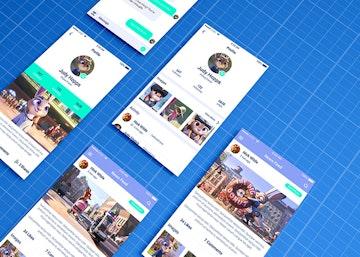 Mobile App Mockup on Blueprint