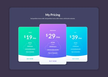 Vector Pricing Table Elements