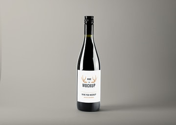 Realistic Wine Bottle PSD Mockup