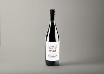 Realistic Wine Bottle PSD Mockup